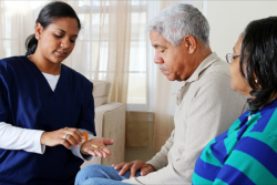 caregiver giving medicines to an elderly couple